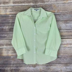 Foxcroft Wrinkle Free Size 12 Light Green Striped